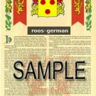 ROOS - GERMAN - Armorial Name History - Coat of Arms - Family Crest GIFT! 8.5x11