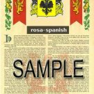 ROSA - SPANISH - Armorial Name History - Coat of Arms - Family Crest GIFT! 8.5x11