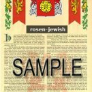 ROSEN - JEWISH - Armorial Name History - Coat of Arms - Family Crest GIFT! 8.5x11