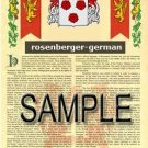 ROSENBERGER - GERMAN - Armorial Name History - Coat of Arms - Family Crest GIFT! 8.5x11