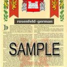 ROSENFELD - GERMAN - Armorial Name History - Coat of Arms - Family Crest GIFT! 8.5x11