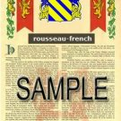 ROUSSEAU - FRENCH - Armorial Name History - Coat of Arms - Family Crest GIFT! 8.5x11
