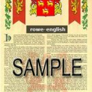 ROWE - ENGLISH - Armorial Name History - Coat of Arms - Family Crest GIFT! 8.5x11
