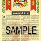 ROWLAND - IRISH - Armorial Name History - Coat of Arms - Family Crest GIFT! 8.5x11