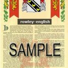 ROWLEY - ENGLISH - Armorial Name History - Coat of Arms - Family Crest GIFT! 8.5x11