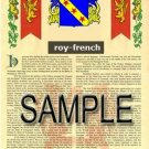 ROY - FRENCH - Armorial Name History - Coat of Arms - Family Crest GIFT! 8.5x11