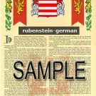 RUBENSTEIN - GERMAN - Armorial Name History - Coat of Arms - Family Crest GIFT! 8.5x11