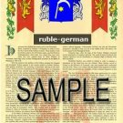 RUBLE - GERMAN - Armorial Name History - Coat of Arms - Family Crest GIFT! 8.5x11