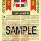RUDE - ENGLISH - Armorial Name History - Coat of Arms - Family Crest GIFT! 8.5x11