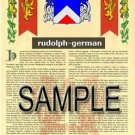 RUDOLPH - GERMAN - Armorial Name History - Coat of Arms - Family Crest GIFT! 8.5x11
