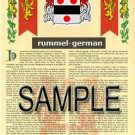 RUMMEL - GERMAN - Armorial Name History - Coat of Arms - Family Crest GIFT! 8.5x11