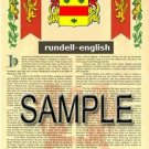 RUNDELL - ENGLISH - Armorial Name History - Coat of Arms - Family Crest GIFT! 8.5x11