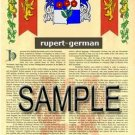 RUPERT - GERMAN - Armorial Name History - Coat of Arms - Family Crest GIFT! 8.5x11