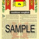 RUSHTON - ENGLISH - Armorial Name History - Coat of Arms - Family Crest GIFT! 8.5x11