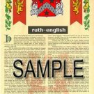 RUTH - ENGLISH - Armorial Name History - Coat of Arms - Family Crest GIFT! 8.5x11