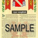 RYE - ENGLISH - Armorial Name History - Coat of Arms - Family Crest GIFT! 8.5x11