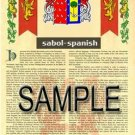 SABOL - SPANISH - Armorial Name History - Coat of Arms - Family Crest GIFT! 8.5x11