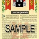 SACHS - JEWISH - Armorial Name History - Coat of Arms - Family Crest GIFT! 8.5x11