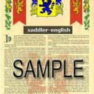 SADDLER - ENGLISH - Armorial Name History - Coat of Arms - Family Crest GIFT! 8.5x11