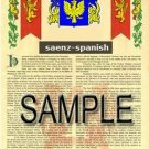 SAENZ - SPANISH - Armorial Name History - Coat of Arms - Family Crest GIFT! 8.5x11