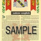 SALEM - ENGLISH - Armorial Name History - Coat of Arms - Family Crest GIFT! 8.5x11