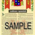 SALINAS - SPANISH - Armorial Name History - Coat of Arms - Family Crest GIFT! 8.5x11