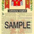 SALISBURY - ENGLISH - Armorial Name History - Coat of Arms - Family Crest GIFT! 8.5x11