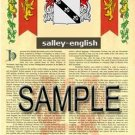 SALLEY - ENGLISH - Armorial Name History - Coat of Arms - Family Crest GIFT! 8.5x11