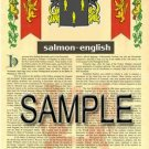 SALMON - ENGLISH - Armorial Name History - Coat of Arms - Family Crest GIFT! 8.5x11
