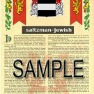 SALTZMAN - JEWISH - Armorial Name History - Coat of Arms - Family Crest GIFT! 8.5x11