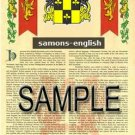 SAMONS - ENGLISH - Armorial Name History - Coat of Arms - Family Crest GIFT! 8.5x11