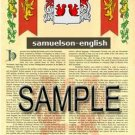 SAMUELSON - ENGLISH - Armorial Name History - Coat of Arms - Family Crest GIFT! 8.5x11