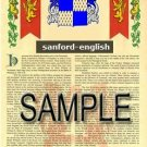 SANFORD - ENGLISH - Armorial Name History - Coat of Arms - Family Crest GIFT! 8.5x11