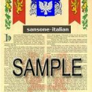SANSONE - ITALIAN - Armorial Name History - Coat of Arms - Family Crest GIFT! 8.5x11