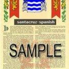 SANTACRUZ - SPANISH - Armorial Name History - Coat of Arms - Family Crest GIFT! 8.5x11