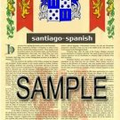 SANTIAGO - SPANISH - Armorial Name History - Coat of Arms - Family Crest GIFT! 8.5x11