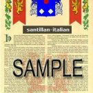 SANTILLAN - ITALIAN - Armorial Name History - Coat of Arms - Family Crest GIFT! 8.5x11
