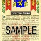 SANTORO - ITALIAN - Armorial Name History - Coat of Arms - Family Crest GIFT! 8.5x11