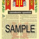 SARMIENTO - SPANISH - Armorial Name History - Coat of Arms - Family Crest GIFT! 8.5x11