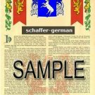SCHAFFER - GERMAN - Armorial Name History - Coat of Arms - Family Crest GIFT! 8.5x11