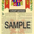 SCHARF - GERMAN - Armorial Name History - Coat of Arms - Family Crest GIFT! 8.5x11