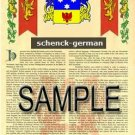 SCHENCK - GERMAN - Armorial Name History - Coat of Arms - Family Crest GIFT! 8.5x11