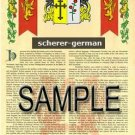 SCHERER - GERMAN - Armorial Name History - Coat of Arms - Family Crest GIFT! 8.5x11
