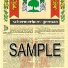 SCHERMERHORN - GERMAN - Armorial Name History - Coat of Arms - Family Crest GIFT! 8.5x11