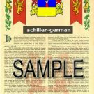 SCHILLER - GERMAN - Armorial Name History - Coat of Arms - Family Crest GIFT! 8.5x11