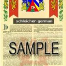 SCHLEICHER - GERMAN - Armorial Name History - Coat of Arms - Family Crest GIFT! 8.5x11