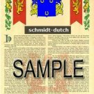 SCHMIDT - DUTCH - Armorial Name History - Coat of Arms - Family Crest GIFT! 8.5x11