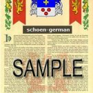 SCHOEN - GERMAN - Armorial Name History - Coat of Arms - Family Crest GIFT! 8.5x11