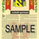 SCHOLL - GERMAN - Armorial Name History - Coat of Arms - Family Crest GIFT! 8.5x11