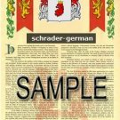 SCHRADER - GERMAN - Armorial Name History - Coat of Arms - Family Crest GIFT! 8.5x11